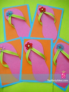 DIY flip- flop invitations. Cute for a summer Luau Party!!!