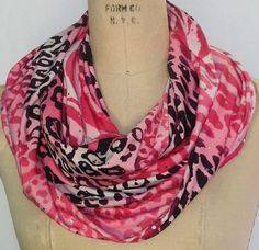 Pink and black animal print infinity scarf by DeZeStar on Etsy
