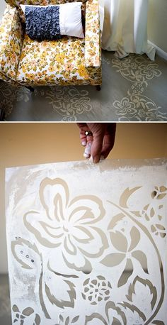 DIY Stenciled Floor Tutorial - So beautiful! Stencil Diy, Stencil Designs, Custom Stencils, Floor Cloth, Floor Rugs, Painted Floors, Painted Furniture, Stenciled Floor, Floor Stencil
