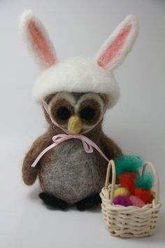 Needle felted Easter Owl by FiberForest on Etsy, $20.00