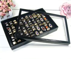 Rings boxes storage box 100 rings display tray with plastic cover jewelry box accessories display rack ring organizer holder