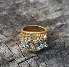 Vintage Gold Cocktail Ring with Two by Gener8tionsCre8tions, $45.00