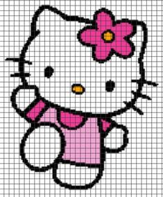 """Hello Kitty Crochet Graphghan Pattern (Chart/Graph AND Row-by-Row Written Instructions) [ """"Hello Kitty Crochet Graphghan Pattern (Chart/Graph AND Row-by-Row Written Instructions):"""" ] # # # # # # # # # Graph Crochet, Pixel Crochet, Crochet Cross, Knitting Charts, Baby Knitting, Knitting Patterns, Crochet Patterns, Cross Stitching, Cross Stitch Embroidery"""