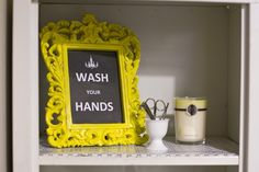 Need to remember to spray paint a frame in a great color, throw in a cool quote, and put it in my bathroom curio.