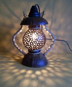 Wooden Lantern Hanging Lamp Swag Coconut Shell Floor by boonrat