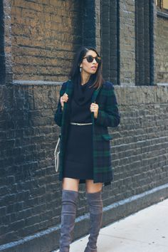 easy winter outfit - sweater dress, over the knee boots, plaid coat