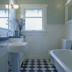 Bathroom design--I love the wall panels!
