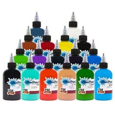 Starbrite 17 Most Used Colors Sterile Tattoo Ink 1/2 oz Starbright