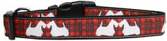 Collar Planet - Red Plaid Scottie Pups Adjustable Nylon Ribbon Dog Collar (http://www.collarplanetonline.com/red-plaid-scottie-pups-adjustable-nylon-ribbon-dog-collar/) Ideal for the Scottie lover, this is a high quality ribbon overlay of the Red Plaid Scottie Pups pattern on a durable nylon base.