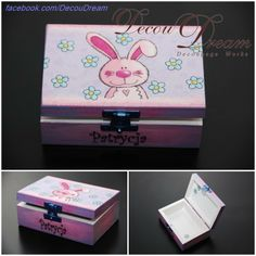 girly decoupage box with a rabbit by DecouDream www.facebook.com/Decoudream