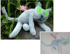 Custom stuffed toys out of your children's drawings