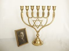 vintage brass candlestick menorah 7 branch by Sassydoggs on Etsy