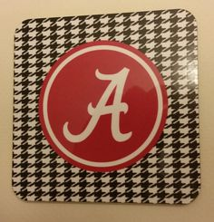 Set of 4 Alabama Houndstooth Coasters Roll Tide by SDdoodles