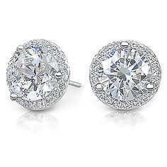 Margarita Halo Round CZ Stud Earrings