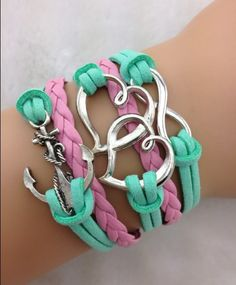 Anchor Double Heart & Infinity bracelet,shop at www.costwe.com