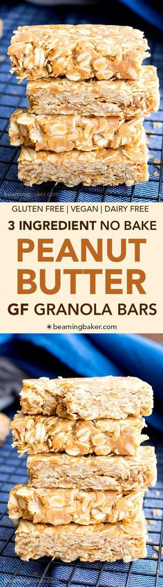 3 Ingredient No Bake Gluten Free Peanut Butter Granola Bars (V, GF, DF): a quick 'n easy recipe for thick no bake peanut butter granola bars that taste like honey roasted peanuts.