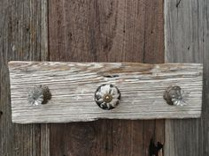 Reclaimed Wood Wall Hook/ Shabby Chic Wall Hook/ Distressed Wood/ Antique White/ Knob Hook/ Jewelry Hanger/ Bath Hook/ Reclaimed Wood