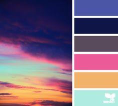 sky spectrum - color palette from Design Seeds Colour Pallette, Color Palate, Colour Schemes, Color Patterns, Color Combos, Sunset Color Palette, Retro Color Palette, Jewel Tone Colors, Design Seeds