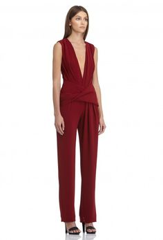 Image 1 of AQ/AQ Matilda Sleeveless Jumpsuit with Deep Plunge Front and Gathered Waist · Dark Red ·