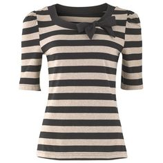 Stripe Bow Top (€35) ❤ liked on Polyvore featuring tops, shirts, blusas, hauts, shirts & tops, black striped shirt, ruched top, half sleeve shirts and striped shirt
