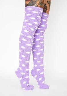 Womens 50 Full Print Stockings Purple African Knee High Crew Socks