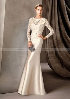 f643700b8f1a Sheath Column Full Long Sleeve Scoop Neck Long Floor-Length Elastic Satin