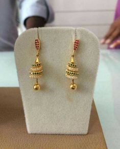 Sparkling Fashion: Gold Jhumka Earring designs latest 2019/ Gold buttalu Gold Jhumka Earrings, Jewelry Design Earrings, Gold Earrings Designs, Latest Earrings Design, Gold Necklace, Gold Ring Designs, Gold Bangles Design, Gold Jewellery Design, Gold Jewelry Simple