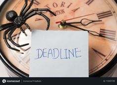 Free Selective Focus of deadline written sticky note on wall clock and spider Photo Royalty Free Icons, Business Photos, Sticky Notes, Spider, Vector Free, Clock, Writing, Illustration, Wall