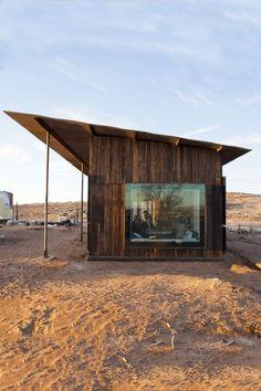 wooden desert lean-to cabin