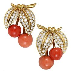 Van Cleef & Arpels Coral Diamond Gold Clip-on Cherry Earrings | From a unique collection of vintage clip-on earrings at https://www.1stdibs.com/jewelry/earrings/clip-on-earrings/