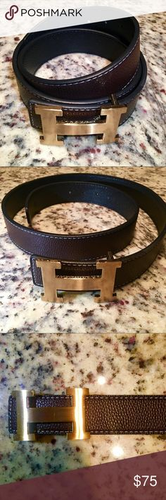 High Quality Hermes from Original Versions What you see it's what you'll get. Beautiful Top quality Hermes from original versions. Dark Brown belt with gold buckle in size 47 inches / 120 centimeters and I can make extra wholes to adjust to smaller size... this belt has a small cut in the back of it and you can see it in the picture I posted. Hermes Accessories Belts