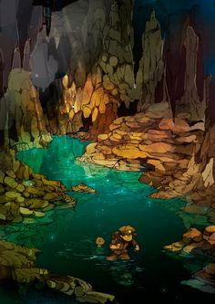 Parts of the map where dwarven caverns meets water