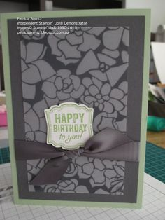Birthday Card - using Stampin' Up Sale-A-Bration Sheer Perfection Designer Vellum stack, Basic Gray and Pistachio Pudding cardstock, Pistachio Pudding ink, Basic Gray satin ribbon, Label Love stamp set and Artisan Label Punch