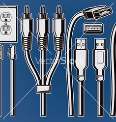 cables-and-plugs-vector-596442.jpg (380×400)
