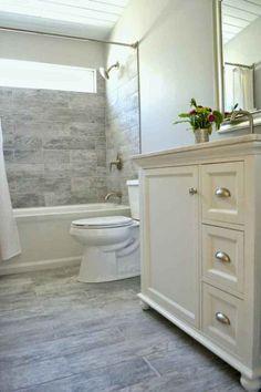 Small bathroom renovation bathroom remodel eek to chic on a budget bathroom decor bathroom bathroom renovations . Wood Bathroom, Bathroom Renos, Basement Bathroom, Bathroom Flooring, Bathroom Mirrors, Bathroom Interior, Bathroom Cabinets, Diy Flooring, 1950s Bathroom