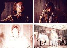 [SET OF GIFS] 9x02 Devil May Care. This was an awesome moment. I love that Ezekiel's wings are so tattered.