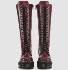 The Quad Retro Jadon 20-eyelet boot by Dr Martens in dark cherry red. These boots are all-terrain, yet stylin. (Only), $220. Sigh