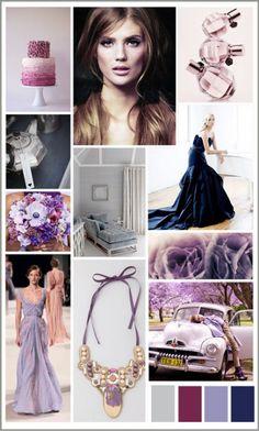 Grey, navy & lavender.