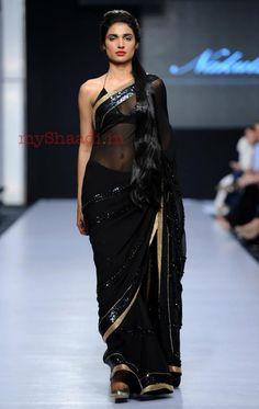 Black saree with gold border #saree #sari #blouse #indian #outfit #shaadi #bridal #fashion #style #desi #designer #wedding #gorgeous #beautiful