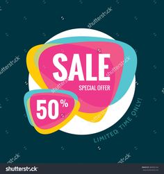 Sale Vector Banner Template - Special Offer 50% - Limited Time Only. Abstract…