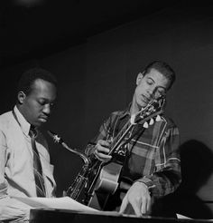 Hank Mobley and Kenny Burrell at a Blue Note recording date -- picture by…