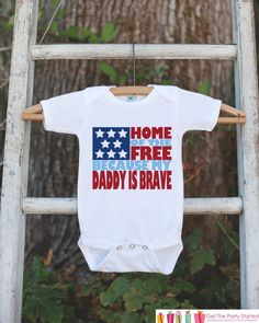 4th of July Outfit - Military Dad Onepiece or Tshirt - Fourth of July Shirt for Baby, Youth, Toddler - Daddy Is Brave Onepiece or Shirt