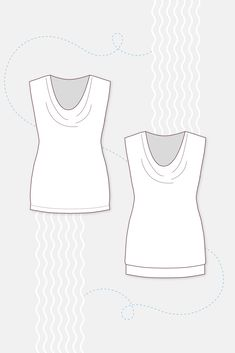 Schnittmuster Wasserfall Top Varianten nähen Cowl Neck, V Neck, Clothing Patterns, Peplum, Shirts, Sewing, Clothes, Fashion, Fashion Styles