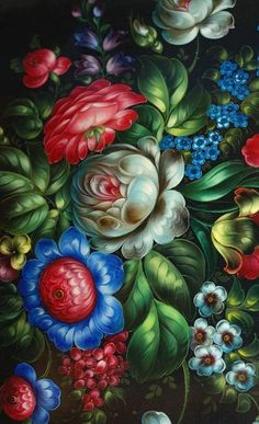 Zhostovo handicraft from Russia. A floral pattern