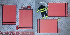 scrapbooking firefighter | Fireman Firefighter Fire Truck Premade Scrapbook Pages Layout Stickers ...