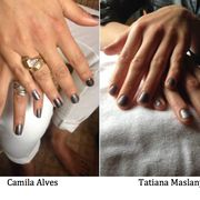 Camila Alves and Tatiana Maslany dip into Silver for their red carpet manis. #GoldenGlobes