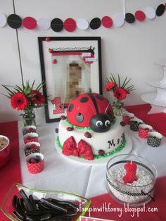 stampin up marienkäfer party ladybug erster geburtstag first birthday glutrot weiß schwarz red black white torte cake candy bar - STAMPINWITHFANNY