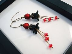 Black and Red Lucite Flower Earrings Antique Brass by snowingstars