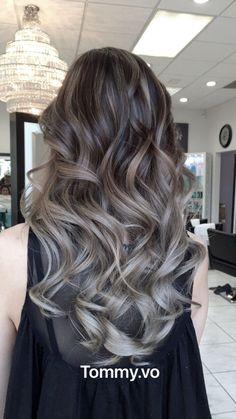 Grey Hair Wig, Brown Ombre Hair, Ombre Hair Color, Hair Color Balayage, Brown Hair Colors, Hair Highlights, Ash Balayage, Brown Hair To Ash Blonde, Ash Brown Hair Balayage