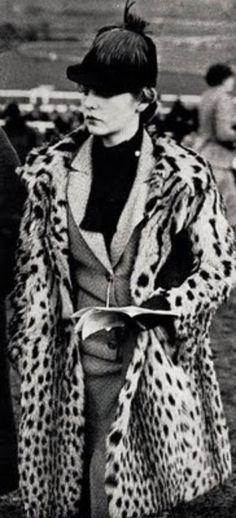 Deborah Mitford - c. 1936 - Leopard Coat - Royal Ascot -